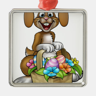 Easter Bunny Cartoon Character Silver-Colored Square Decoration