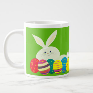 Easter Bunny Cartoon Cute Eggs Colorful Ornate Large Coffee Mug