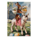 Easter Bunny Chick Colored Painted Egg Goat Posters