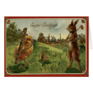 Easter Bunny Chick Golf Caddy Colored Egg Greeting Card