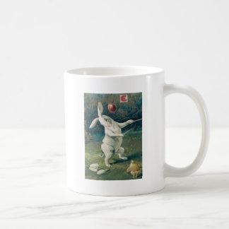 Easter Bunny Chick Playing Lily Basic White Mug