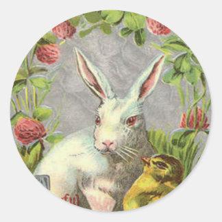 Easter Bunny Chick Shamrock Round Sticker