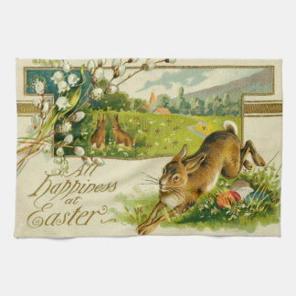 Easter Bunny Colored Egg Church Tea Towel
