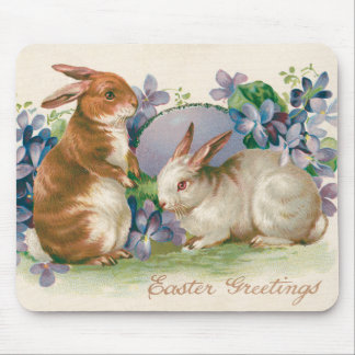 Easter Bunny Colored Egg Forget-Me-Not Mouse Mat
