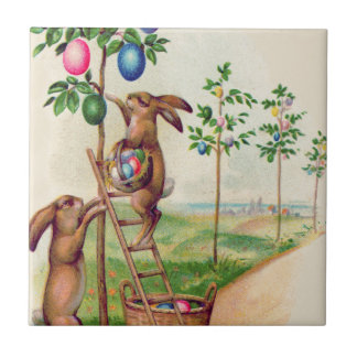 Easter Bunny Colored Egg Tree Tile