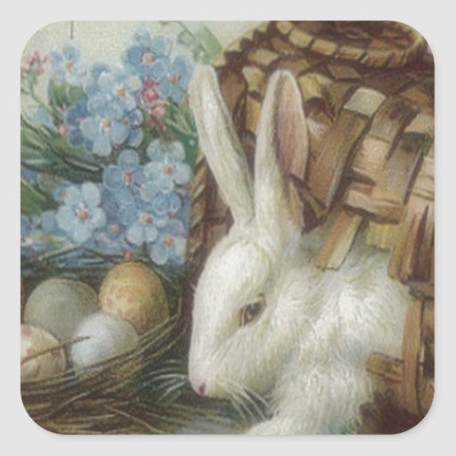 Easter Bunny Colored Painted Egg Basket Forget Me Square Stickers