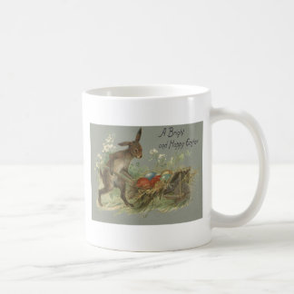 Easter Bunny Colored Painted Egg Lily Wheelbarrow Basic White Mug