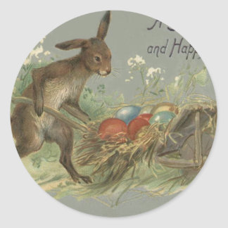 Easter Bunny Colored Painted Egg Lily Wheelbarrow Round Sticker