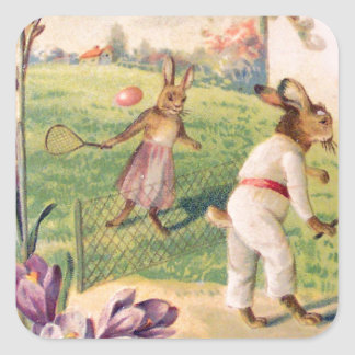 Easter Bunny Colored Painted Egg Tennis Square Sticker