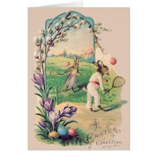 Easter Bunny Coloured Egg Tennis Cotton Card