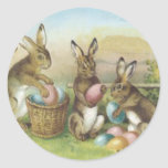 Easter Bunny Coloured Painted Egg Field Round Sticker