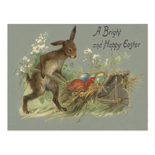 Easter Bunny Coloured Painted Egg Lily Wheelbarrow Postcard