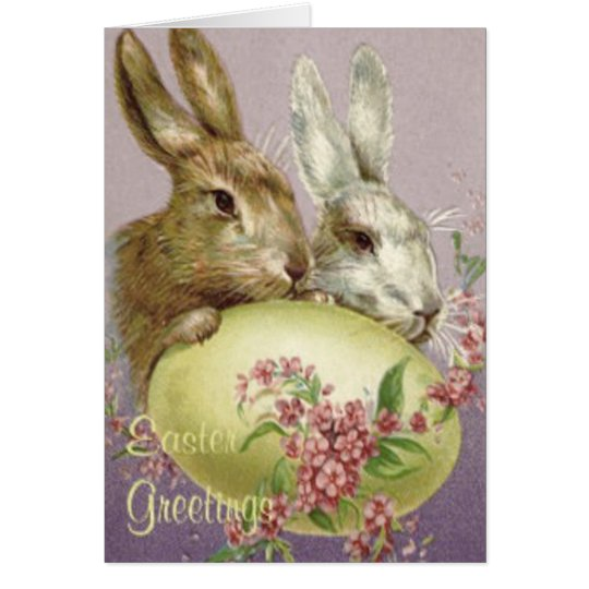 Easter Bunny Coloured Painted Egg Pink Flower Card