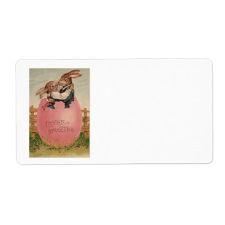 Easter Bunny Couple Kissing Painted Colored Egg Shipping Label