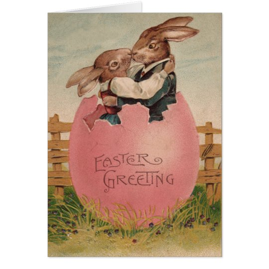 Easter Bunny Couple Kissing Painted Coloured Egg Card