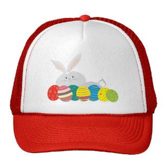 Easter Bunny Cute White Cartoon Colorful Eggs Cap