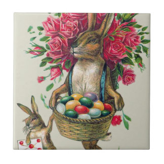 Easter Bunny Dad Child Rose Basket Egg Small Square Tile