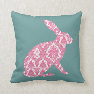 easter bunny damask pink dusky blue cushion pillow