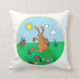 Easter Bunny Delivering Eggs Cushion