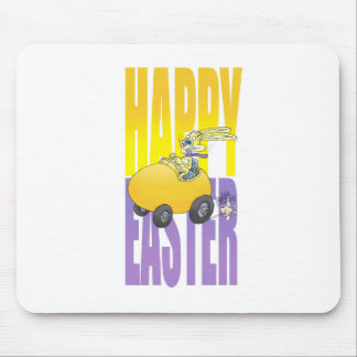 Easter bunny driving an egg. mouse pad
