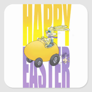 Easter bunny driving an egg. square sticker