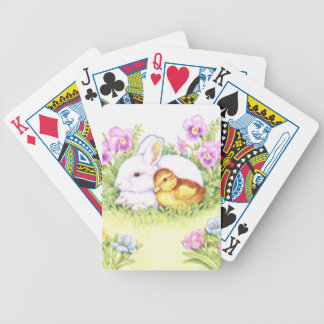 Easter Bunny, Duckling and Flowers Bicycle Playing Cards