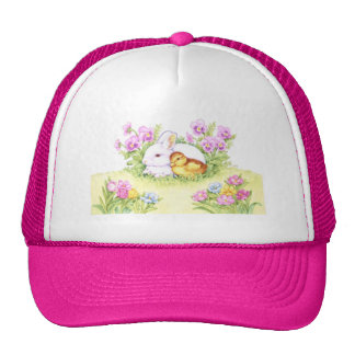 Easter Bunny, Duckling and Flowers Hat