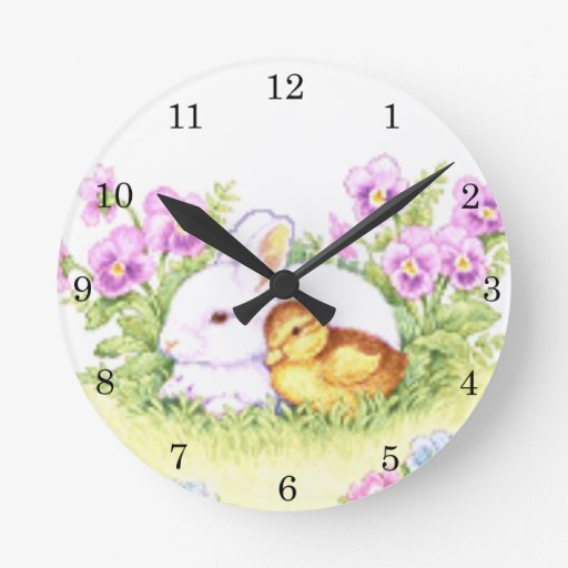 Easter Bunny, Duckling and Flowers Round Clocks