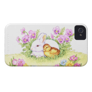 Easter Bunny, Duckling and Flowers iPhone 4 Case-Mate Case