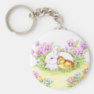 Easter Bunny, Duckling and Flowers Key Ring