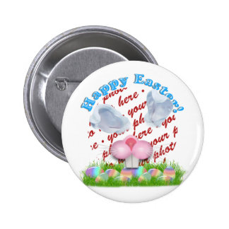 Easter Bunny (Ears & Nose Adjustable) Photo Frame 6 Cm Round Badge
