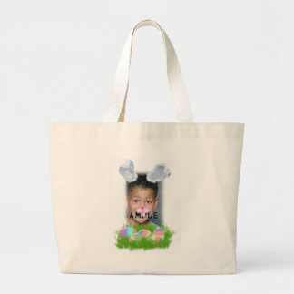 Easter Bunny (Ears & Nose Adjustable) Photo Frame Tote Bags