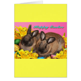 Easter Bunny, Easter Eggs & Easter Lillies on Pink Greeting Card