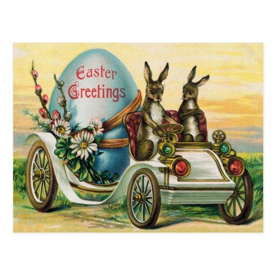 Easter Bunny Egg Car Daisy Postcard