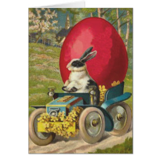Easter Bunny Egg Car Landscape Card