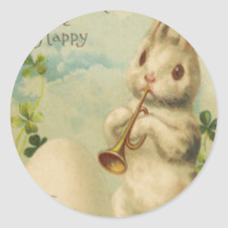 Easter Bunny Egg Four Leaf Clover Trumpet Classic Round Sticker