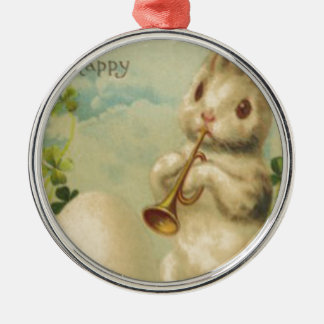 Easter Bunny Egg Four Leaf Clover Trumpet Silver-Colored Round Decoration