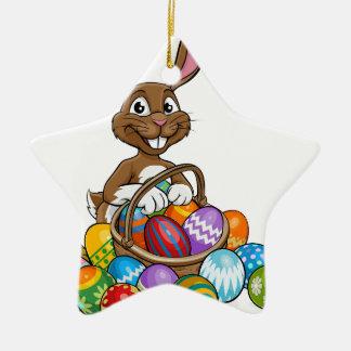 Easter Bunny Egg Hunt Ceramic Star Decoration