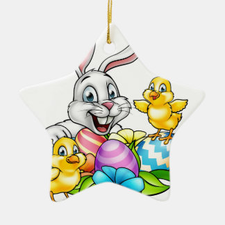 Easter Bunny Eggs and Chicks Christmas Ornament