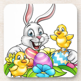 Easter Bunny Eggs and Chicks Coaster