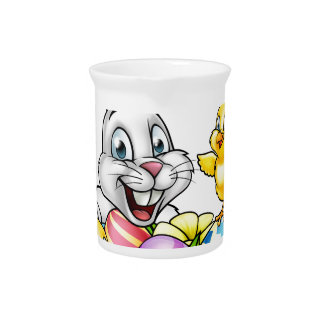 Easter Bunny Eggs and Chicks Pitcher