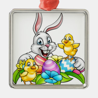 Easter Bunny Eggs and Chicks Silver-Colored Square Decoration