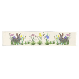 Easter Bunny, Eggs, and Spring Flowers