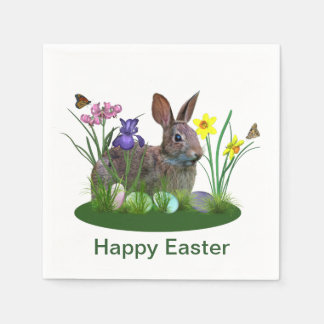 Easter Bunny, Eggs, and Spring Flowers Disposable Serviettes