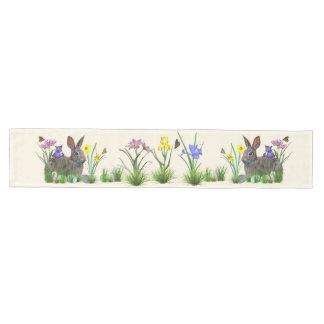Easter Bunny, Eggs, and Spring Flowers Medium Table Runner