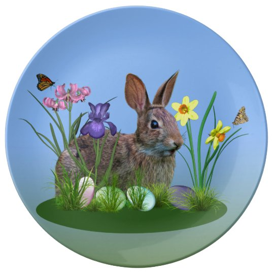 Easter Bunny, Eggs, and Spring Flowers Plate