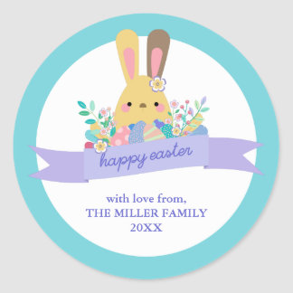 Easter Bunny & Eggs Happy Easter Classic Round Sticker