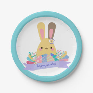 Easter Bunny & Eggs Happy Easter Paper Plate