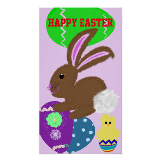 Easter Bunny Eggs Holiday Poster