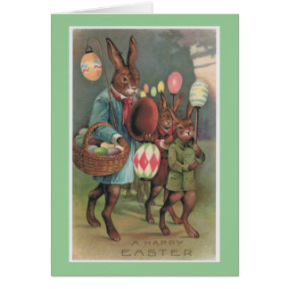 Easter Bunny & Eggs Vintage Greeting Card